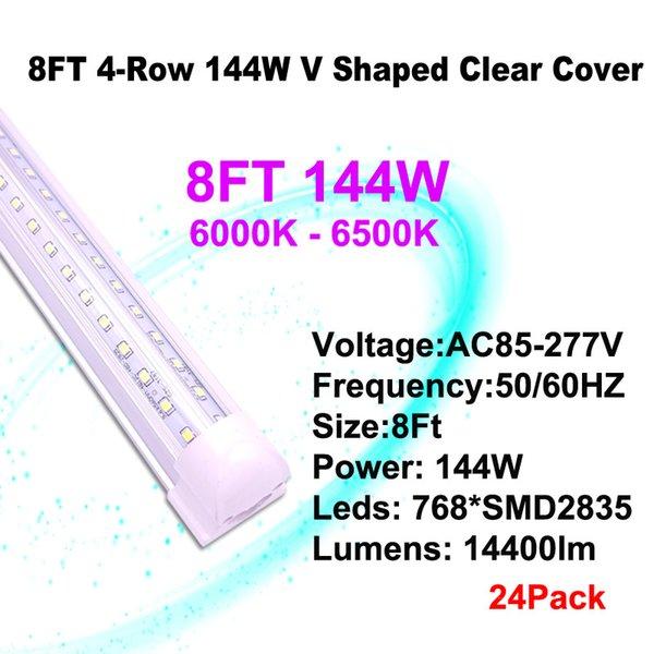 8 피트 144W 클리어 커버 V - 모양의 LED 튜브