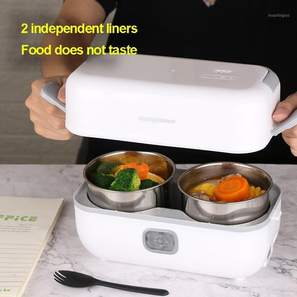 top popular Portable Mini Electric Lunch Box Stainless Steel Liner Double Insulation Heating Warmer Home Office Heater Rice Container1 2021