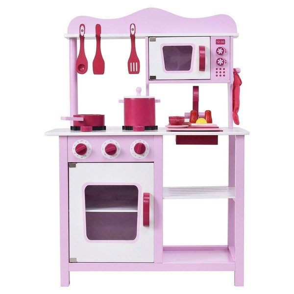 top popular Wood Kitchen Toy Kids Cooking Pretend Play Set Toddler Wooden Playset Gift New 2021