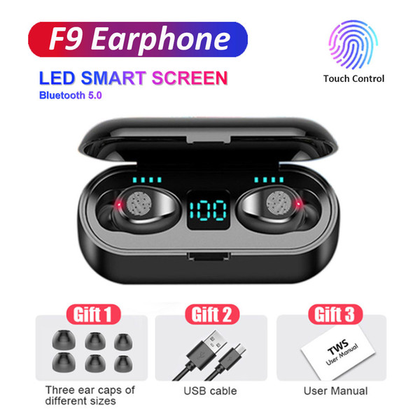 top popular Wireless Bluetooth Earphone V5.0 F9 TWS Headphone LED Display Touch Control HiFi Stereo Earbuds 2000mAh Power Bank Headset With Mic 2021