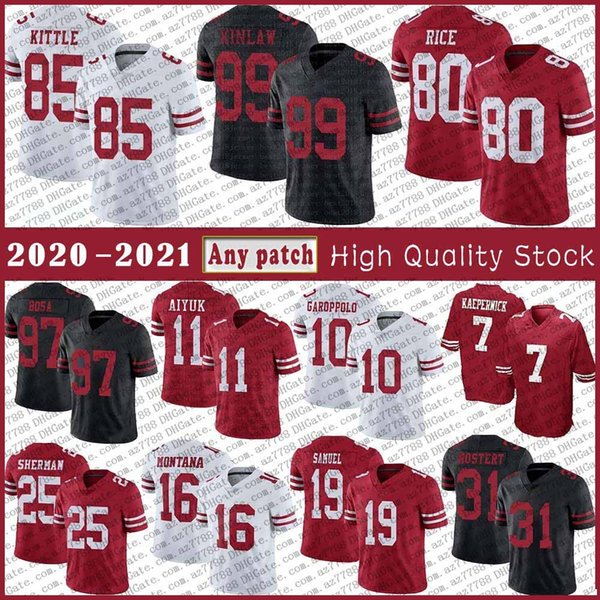 best selling 85 George Kittle 10 Jimmy Garoppolo Football jersey 97 Nick Bosa 11 Brandon Aiyuk Richard Sherman Jerry Rice Joe Montana Deebo Samuel Raheem Mostert Colin Kaepernick