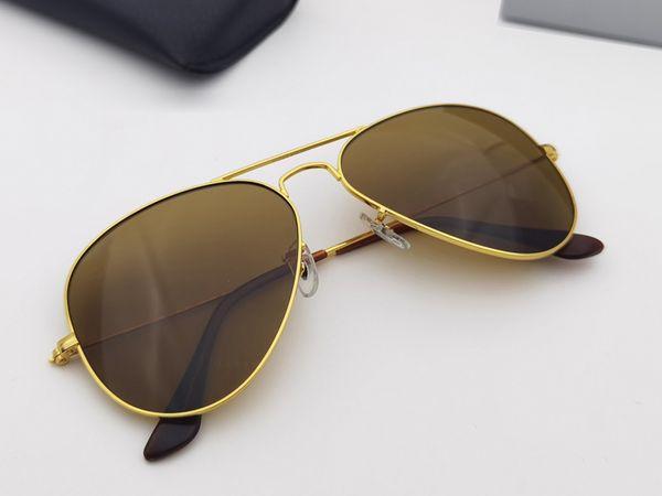 top popular Classic designer Sunglasses metal frame glass lens pilot Men Women Vintage Design protection UV400 Oculos de sol masculino gafas 58mm 62mm with Accessories boxes 2021