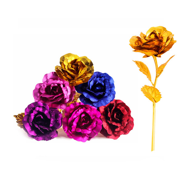 top popular 24K Foil Plated Gold Rose Flower Room Decor Lasts Forever Love Wedding Decorations Lover Creative Mother's Valentine's Day Gift Free Delivery 2021