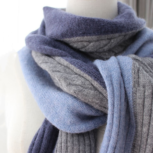 cashmere scarf with 3-color splicing and warm woven with gradient color women's shawl scarf for men, Blue;gray