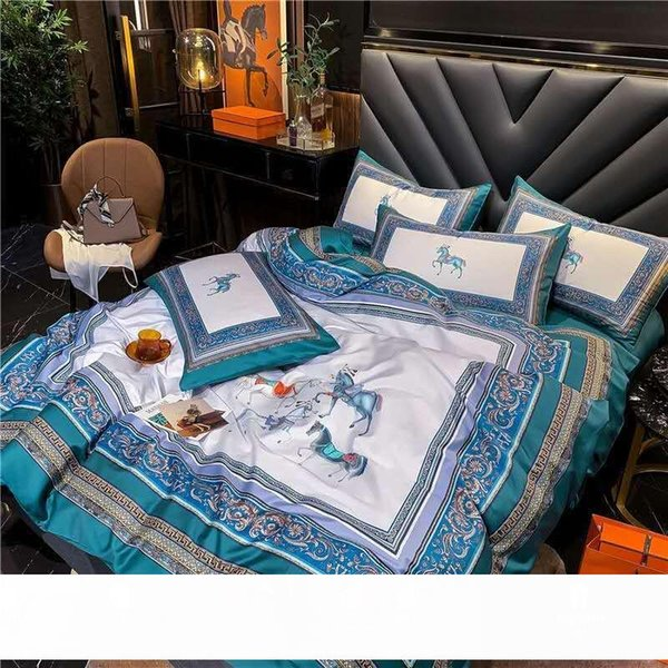 top popular Factory Direct Sales Light Luxury Digital Printing AIMA Style 60 Long-Staple Cotton Four-Piece Cotton Quilt Cover 1.8 Bedding 2021