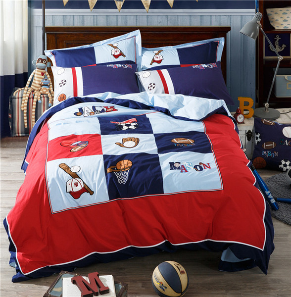 best selling autumn pure cotton children embroidered four pieces of cotton cartoon students bedding