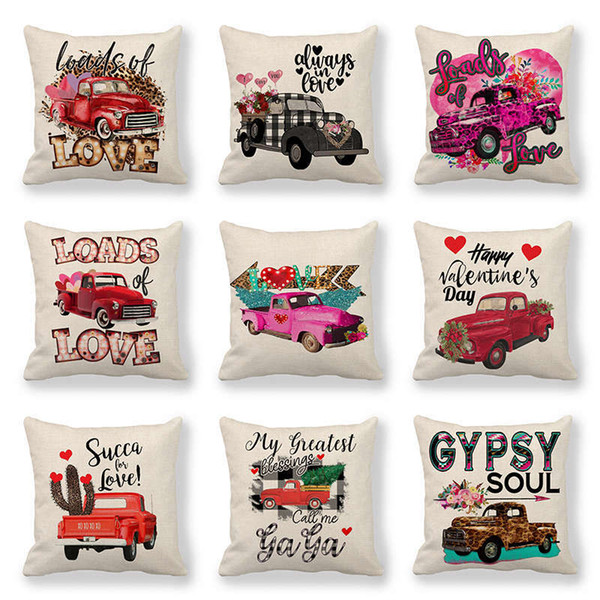 top popular 110 styles Valentines Pillows Case Valentine's Day Letter Printing Heart Pillow Cover 45*45cm Sofa Nap Cushion Covers Home Decoration Z2143 2021