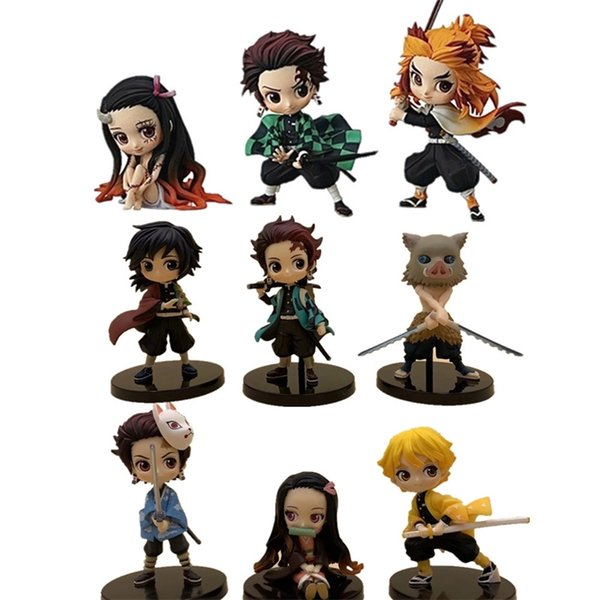 top popular Demon Slayer Action Figures Nezuko Zenitsu Tanjirou Giyuu Inosuke Kyoujurou Q Ver Kimetsu no Yaiba Anime Figurine PVC Toy Set LJ200811 2021
