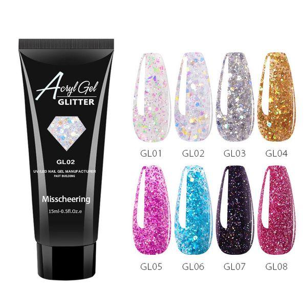 top popular 15ML Nail Extension Gel Glitter Sequins Painless Acrylic Building Gel Varnish Hybrid UV Gel Nail Polish 6pcs 2021