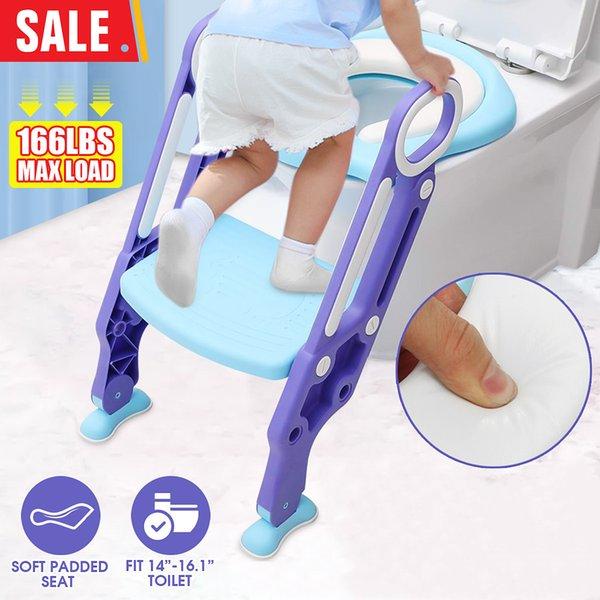 best selling 4 Color Kid Children Folding Toilet Training Step Stools Seat Foldable Potties Seat With Adjustable Ladder Safe Handles Soft Pad LJ201110