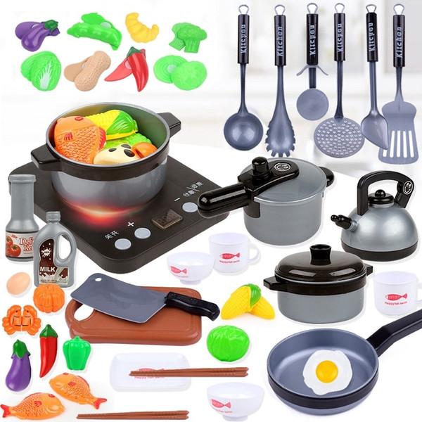 best selling Children Kitchen Toys Simulation Kitchen Utensils Food Cookware Pot Pan Kids Pretend Play Kitchen Set Toys For Girls Doll Food Q1217