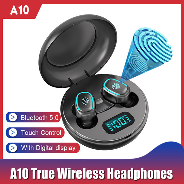 top popular Wireless Earphones A10 TWS Bluetooth 5.0 Wireless HiFi In-Ear Earphones with Round Digital Charging Box Sports Headphones Earbuds 2021