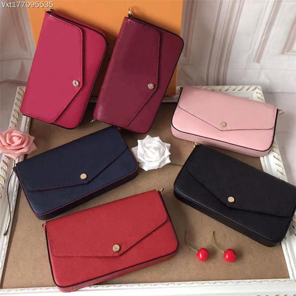 top popular Wholesale Chain Wallet Chain women's shoulder bag Evening Bag Handbag 3-piece genuine leather Set Mini postman Bag Clip Wallet 2021
