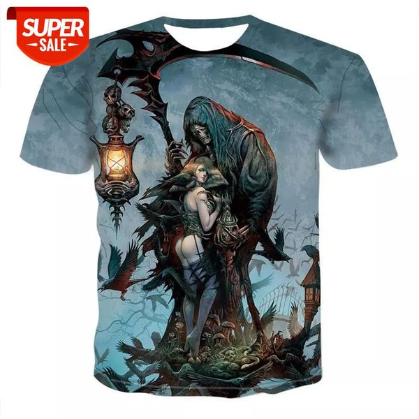 top popular Summer Men T-shirts Casual O-neck Short Sleeve Tee Tops Hip Hop Style Clothes Fashion Streetwear Skull 3D T Shirt Male #E997 2021