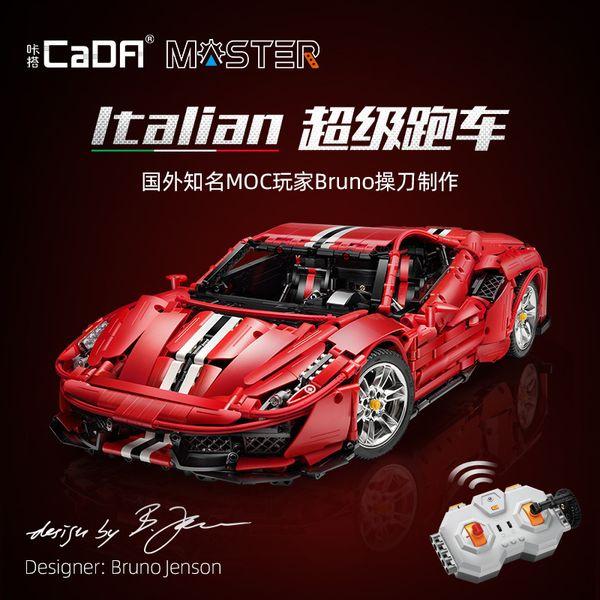 best selling IN STOCK CaDA RC Technic MOC C61042 3187Pcs Italian Super Racing Car Model Building Blocks Bricks Toys for kids christmas gift Q1126