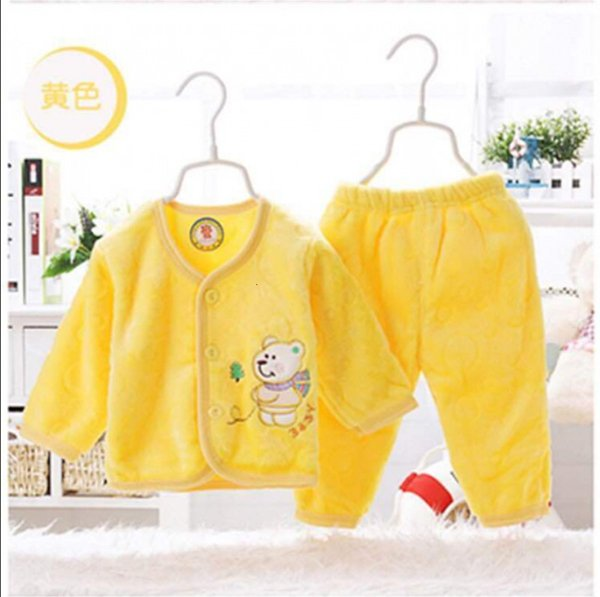 Желтый твердый фланель теплый костюм