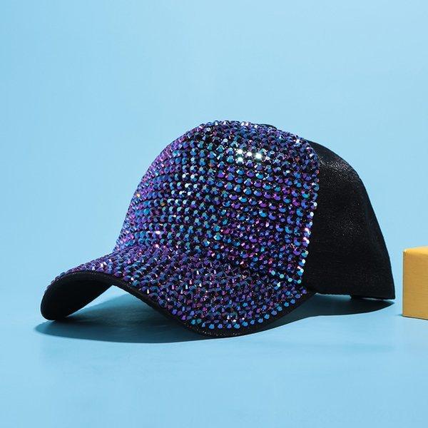 Sombrero de tela de diamante negro + púrpura
