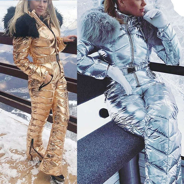 top popular New Shiny Silver Gold One-Piece Ski Women Waterproof Windproof Skiing Jumpsuit Snowboarding Suit Female Snow Costumes 2021