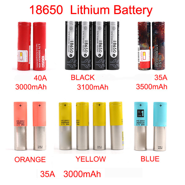 top popular Rechargeable battery New Arrival 18650 Battery 3000mAh-3500mAh for Mix brand BLACK lithium battery Fast shipping By FedEx 2021