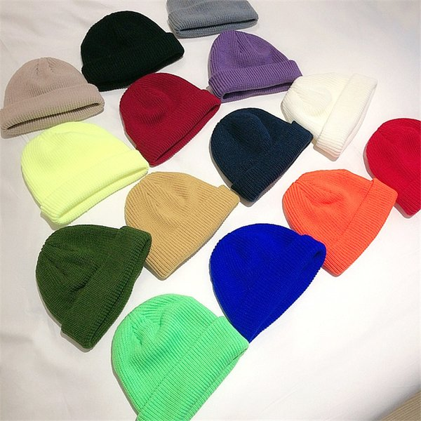 best selling Fall and Winter Landlord Hat Casual Versatile Cap Knitted Wool Hat Solid Color Warm Outdoor Street Hat 14 Colors T3I51439