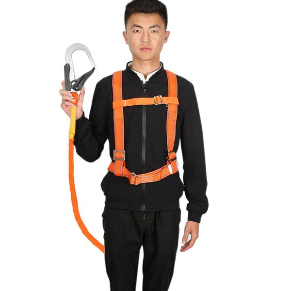 top popular Outdoor Mountaineering Climbing Roofing Roofers Fall Arrest Work Harness Lanyard Aerial Work Safety Belt Protection Equipment Q1118 2021