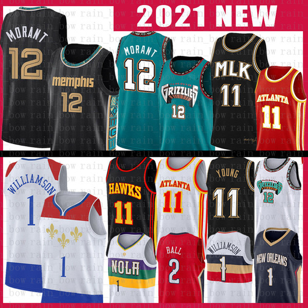 ja 12 morant lonzo 2 ball trae 11 young basketball jersey zion 1 williamson 2021 new jerseys size s-xxl red black white, Black;red