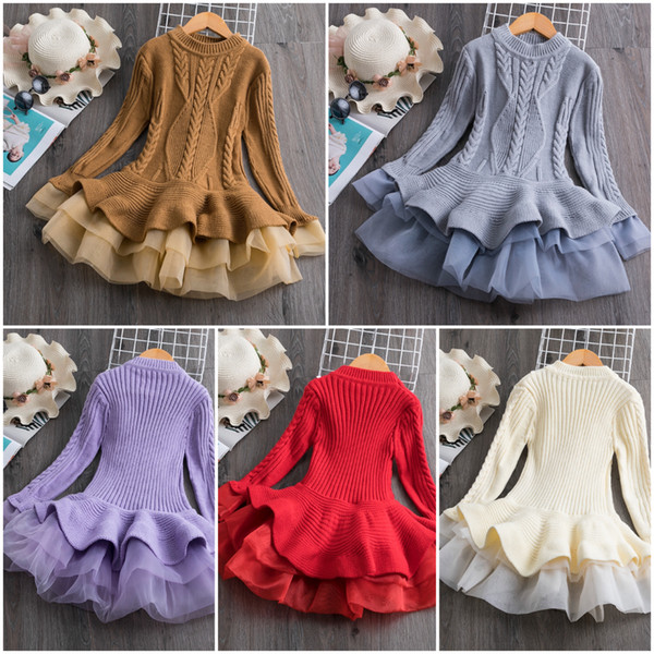 top popular For Girls Knitted Sweater Dress for Girls Autumn Winter shirt Ribbed Long Sleeve Kids Party Costume Casual Wear Princess Christmas Dress 2021