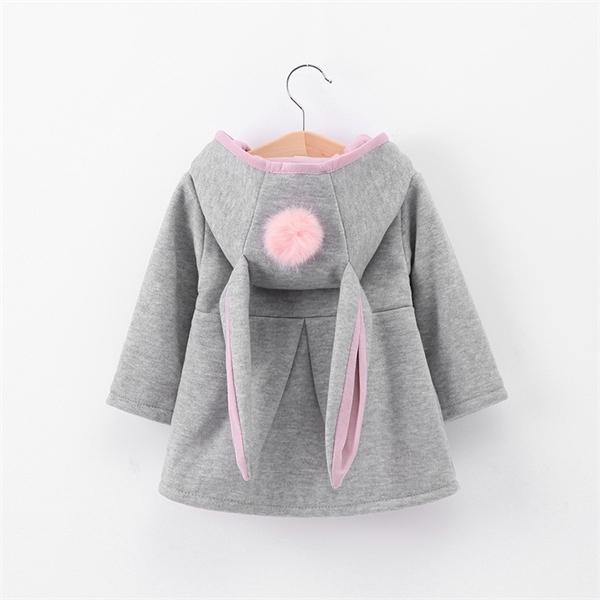 best selling Winter autumn baby girls coat Long sleeve 3D Rabbit ears fashion casual hoodies kids clothes clothing children Outerwear Q1123