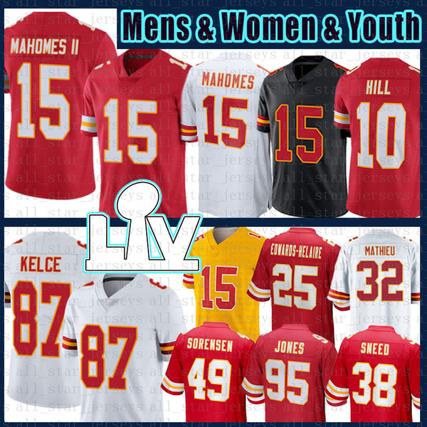 best selling Travis Kelce Patrick Mahomes Tyreek Hill Tyrann Mathieu Football Jersey Chris Jones L'Jarius Sneed Daniel Sorensen Kansas