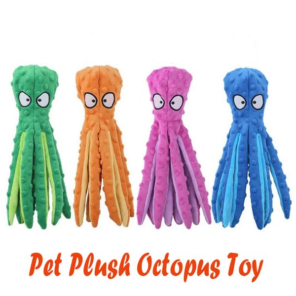 top popular New 4 Styles Pet Plush Toy Octopus Skin Shell Dog Puzzle Bite Resistant Squeaky Toy Interactive Dog Chew Toy Octopus Pets Supplies 2021