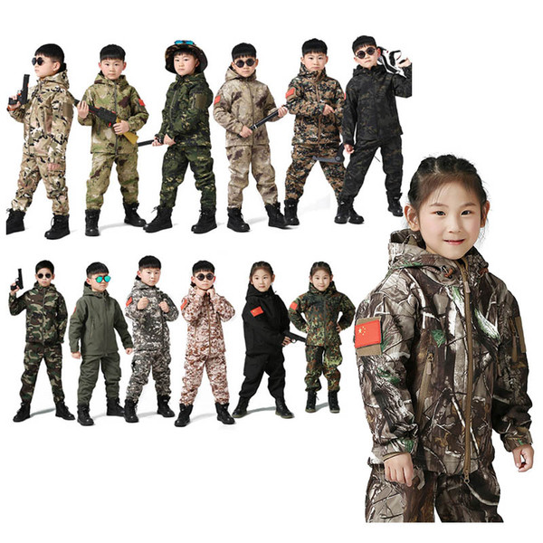 top popular Outdoor Sports Gear BDU Coat Tactical Combat Clothing Camouflage Outdoor Hoody Child Softshell Jacket Pants set P05-217 2021