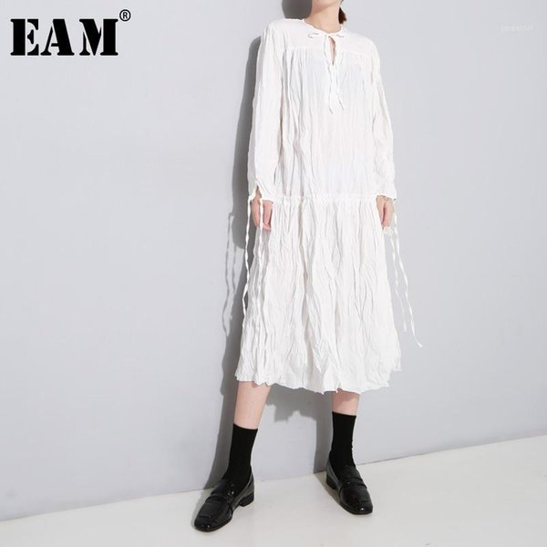 eam] 2020 new spring autumn round neck long sleeve bandage split joint hem pleated stitch loose dress women fashion tide jl6181, Black;gray