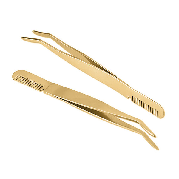top popular Hot Sale Gold Eyelash Extension Tweezers Eye lash Eyebrow Hair Plucking Anti Static Stainless Fine Point Tip Tweezer Comb Brush 2021