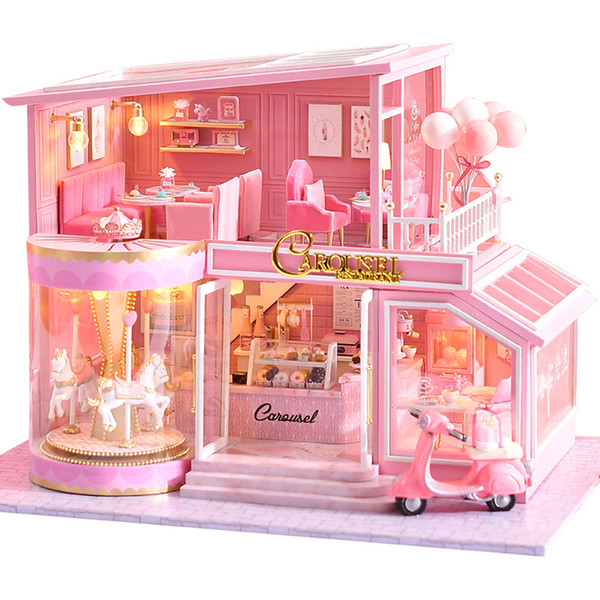 top popular CUTEBEE DIY Dollhouse Wooden doll Houses Miniature Doll House Furniture Kit Casa Music Led Toys for Children Birthday Gift A73 Y200704 2021