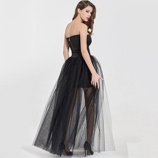 top popular 4Layers Black Overlay Skirt Fashion Long Tutu Tulle Skirt Bride Overskirt Chic Floor Length Saia Longa Detachable Wedding Skirts 2021