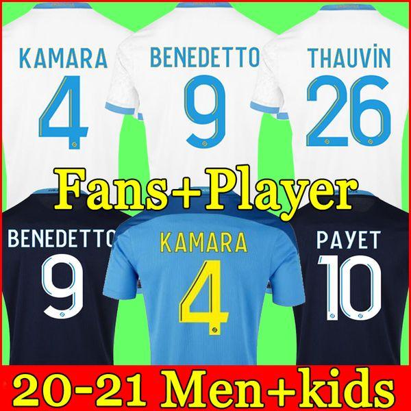 top popular Marseille soccer jersey Olympique De 20 21 OM 2020 2021 maillot foot CUISANCE THAUVIN BENEDETTO KAMARA PAYET football shirts men + kids kit 2021