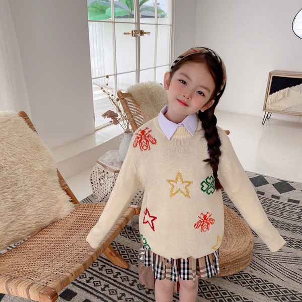 top popular autumn children's clothes girls sweaters printed long sleeve girl knitted pullover sweater for girls kids casual sweaters 2021