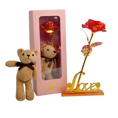 #7Rose + bear + gift box + love