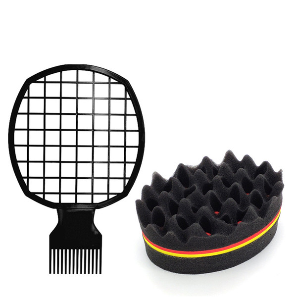 top popular Men's short curly hair combing comb set curled hair comb wrap sponge combing steel Ide-pulling tin paper perm tool 2021
