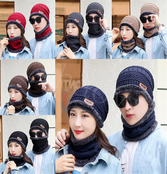 best selling Winter Thermal Plush Hat Scarf Cap Women Thick Warm Beanies Cycling Windproof Cap Two-piece Suit Unisex Winter Cap DB296