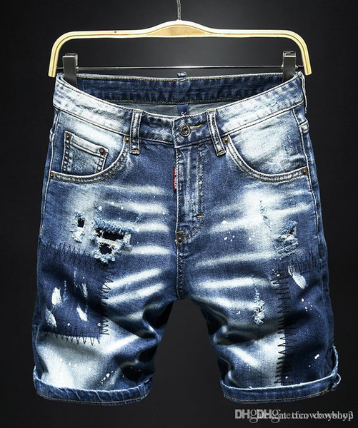 Brand Mens Designer Jeans Summer Style Brand Mens Jeans Printed Mens Casual Solid Short Pants Fashion Brand Sport Short Designer Jeans