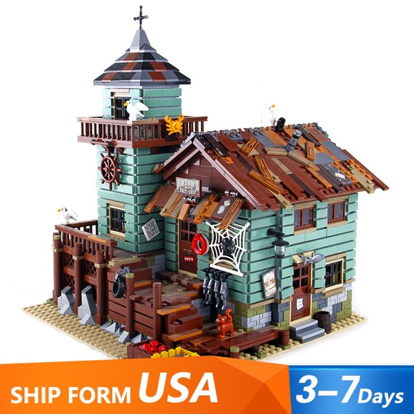 best selling In Stock 16050 Ideas Movie Series The Old Fishing Store Beach Resort House Building Block Bricks Toys Gift for Children 21310