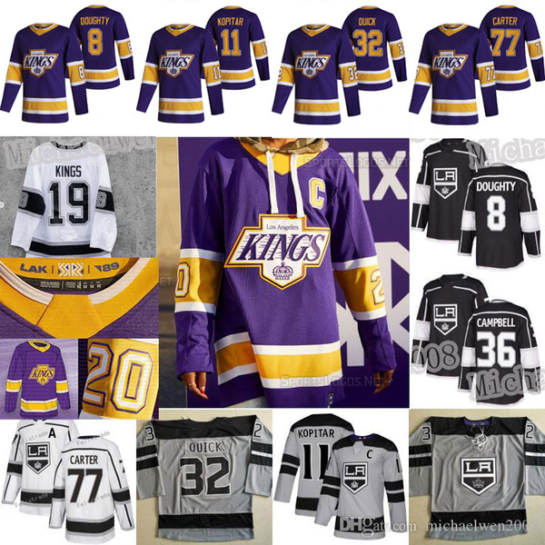best selling LA Los Angeles Kings 2021 Reverse Retro Jerseys Anze Kopitar 55 Quinton Byfield Drew Doughty Brown Iafallo Carter Jonathan Quick Toffoli