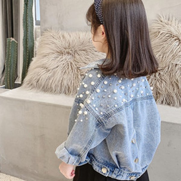 best selling Pearls Beading Denim Jacket For Girls Fashion Coats Children Clothing Autumn Baby Girls Clothes Outerwear Jean Jackets Coat Q1123