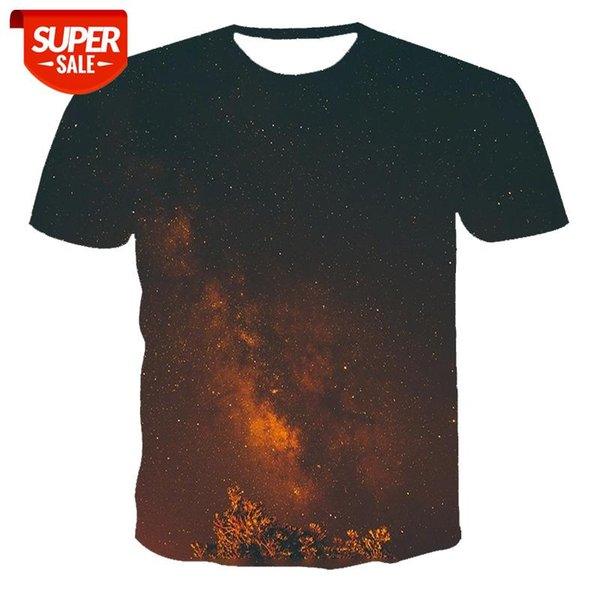 best selling New T-shirt men's high-quality men's and women's T-shirt night starry sky short sleeve 3D printing pattern youth #KQ4H