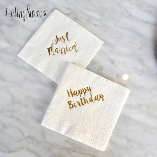 top popular 5pcs lot Gold Happy Birthday Party Paper Napkins Decoration Kids Baby shower Napkins Decoupage Party Decor Just Married1 2021