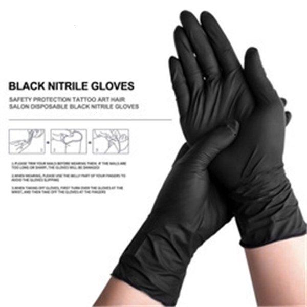 Luvas negras de nitrilo