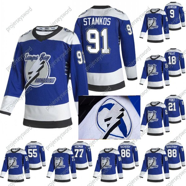 top popular 2020-21 Reverse Retro Steven Stamkos Jersey Tampa Bay Lightning 2020 Champions Johnson Point Palat Kucherov Hedman McDonagh Vasilevskiy 2021