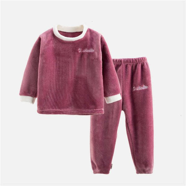 Flannel Long Set Wine Red
