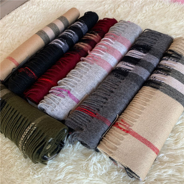 top popular New top cashmere scarf Classic Brand Soft 100% cashmere scarf fashion brand men's and women's scarves 2021